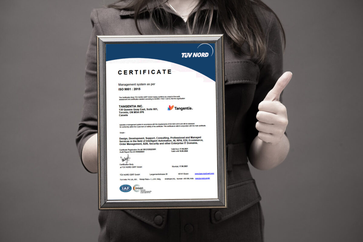 Tangentia is ISO 9001:2015 and ISO/IEC 27001:2013 Certified